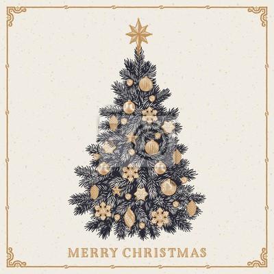Weihnachtsbaum. vintage grußkarte mit merry christmas inschrift ...