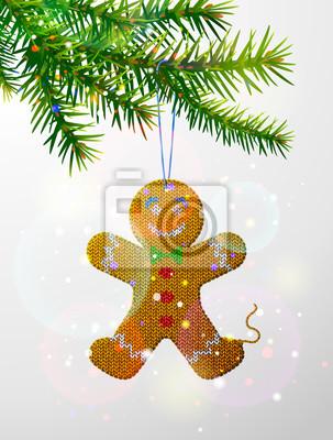 Weihnachtsbaum zweig mit gestrickten lebkuchen mann. weihnachts ...
