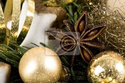 Weihnachtsdeko Gold.Fototapete Weihnachtsdeko In Gold Mit Anisstern
