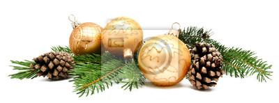 Fototapete Weihnachtsdekoration Kugeln mit Tannenzapfen