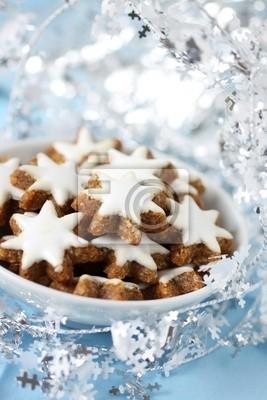 Weihnachtsgebäck Zimtsterne.Fototapete Weihnachtsgebäck Zimtsterne