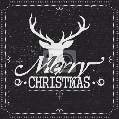 Weihnachtsgruß-Karte mit Ren auf Tafel