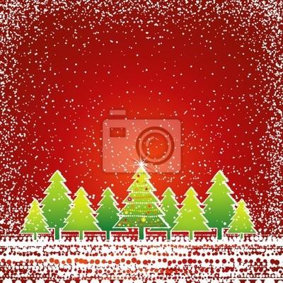 Weihnachtskarte mit baum und schnee, vektor fototapete • fototapeten ...