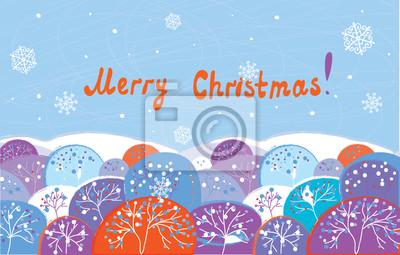 Weihnachtskarte mit Bäumen lustige Design