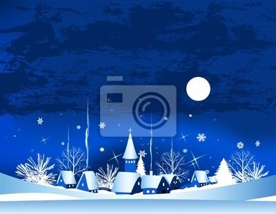 Weihnachtskarte mit stadt, schnee und mond, vektor-illustration ...