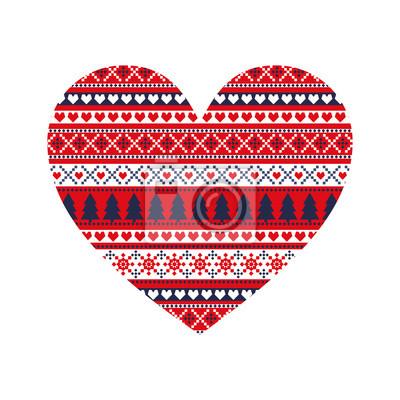 Fototapete Weihnachtskarte. Nettes Weihnachtsherz mit Winterdekorativstrickjackeartverzierung. Abbildung des glücklichen neuen Jahres. Art und Weisedruck.