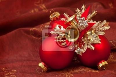 Rote Christbaumkugeln.Fototapete Weihnachtskarte Rote Christbaumkugeln Weihnachtsdeko