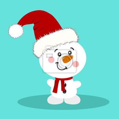 Weihnachtskarte. schneemann. fototapete • fototapeten Schneemann ...