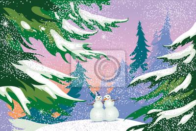 Weihnachtskarte, Schneemänner, Wald