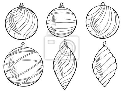 weihnachtskugeln grafik neujahr schwarz wei isoliert set vektor fototapete fototapeten f rben. Black Bedroom Furniture Sets. Home Design Ideas