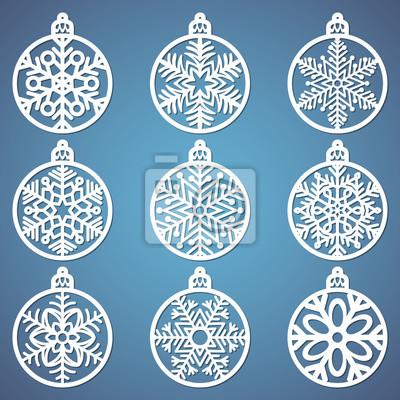 weihnachtskugeln mit schneeflocke aus papier geschnitten vorlagen fototapete fototapeten. Black Bedroom Furniture Sets. Home Design Ideas