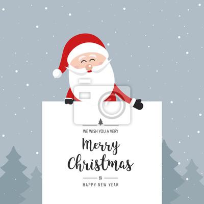 Frohe Weihnachten Grüße.Fototapete Weihnachtsmann Hinter Banner Frohe Weihnachten Gruß Text Winterlandschaft