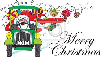 Weihnachtsmann Mit Auto Und Geschenke Fototapete Fototapeten
