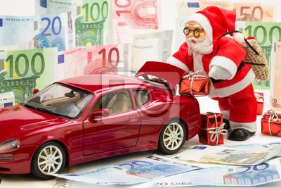 Weihnachtsmann Mit Auto Und Geschenken Fototapete Fototapeten