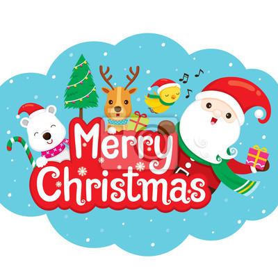 Weihnachtsmann, rentier und freund auf frohe weihnachten banner ...