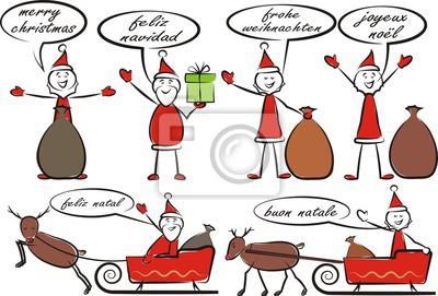 Weihnachtsgrüße In Verschiedenen Sprachen.Fototapete Weihnachtsmann Und Frohe Weihnachten In Verschiedenen Sprachen