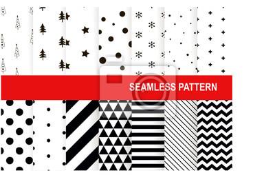 ... Weihnachtsnahtloses Muster Vektorhintergrundsatz.  Feiertagswinterdesign Grußkartenhintergrund, Packpapier, Innen.  Skandinavische Elemente Sammlung