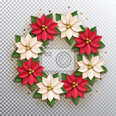 Weihnachtsstern Papier Poinsettia Rote Und Weisse Blumen Kranz