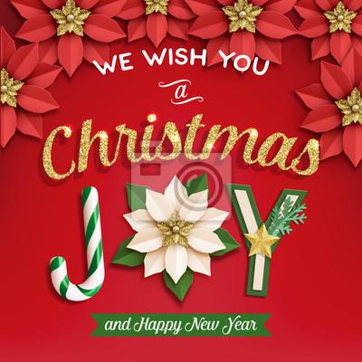 Weihnachtsstern. poster mit zuckerstange und papier weiß und ...