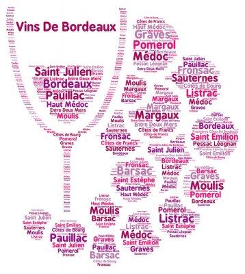 Fototapete Wein aus Bordeaux Wort Wolke