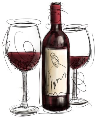 Fototapete Wein-Flasche und Gläser
