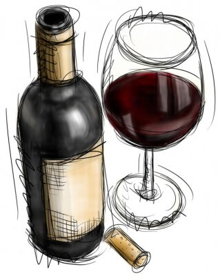 Wein-Flasche und Gläser
