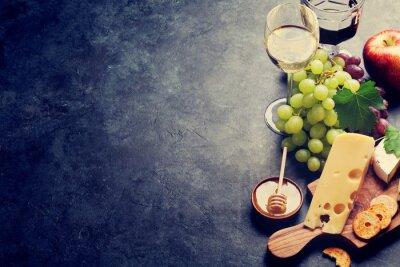 Fototapete Wein, Traube, Käse und Honig
