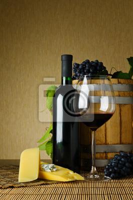 Fototapete Wein und Käse