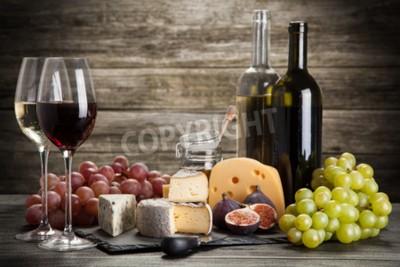 Fototapete Wein und Käse Stillleben