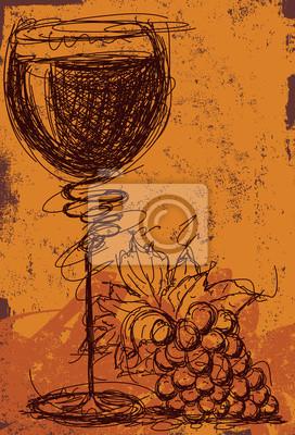 Wein und Trauben abstrakt