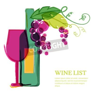 Fototapete Weinflasche, Glas, rosa Traubenrebe, Aquarellillustration. Abstract vector Hintergrund Design-Vorlage. Konzept für Weinkarte, Menü, Flyer, Party, Alkoholgetränke, Feiertage.