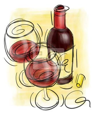 Weinflasche und Weingläser