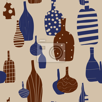 Weinflaschen nahtlose Hintergrund mit Silhouetten