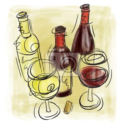 Weinflaschen und Weingläser