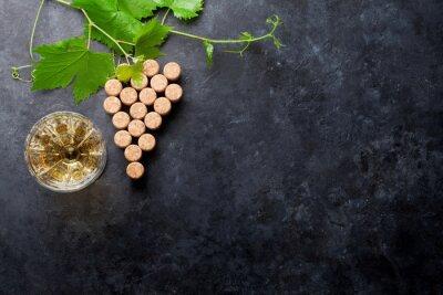 Fototapete Weinkorken Traubenform und Reben