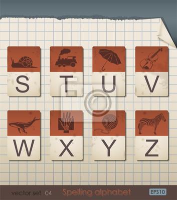 Weinlese-Alphabet Rechtschreibung. Vektor-Illustration.