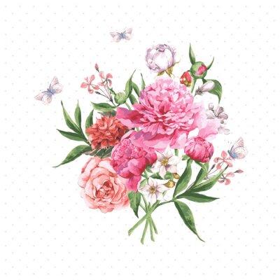 Fototapete Weinlese-Aquarell Grußkarte mit blühenden Blumen und