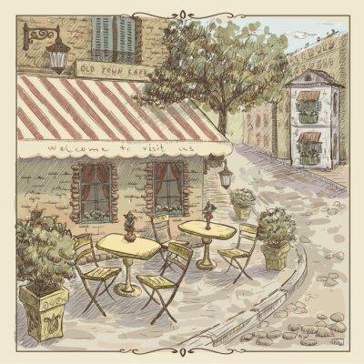 Fototapete Weinlese-Aquarell-Illustration von Straßenkaffee in der alten Stadt