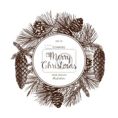 Weihnachtskarten Einladung.Fototapete Weinlese Entwurf Für Weihnachtskarte Oder Einladung Vektor Rahmen