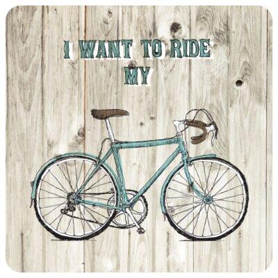 Fototapete Weinlese-Fahrrad Hand gezeichnet Plakat