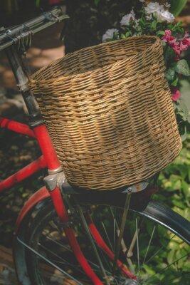 Fototapete Weinlese-Fahrrad mit Korb