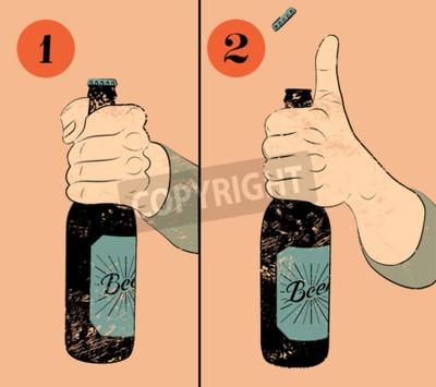 Fototapete Weinlese grunge Artbierplakat. Humorvoller Plakatunterricht für das Öffnen der Flasche Bier. Hand halten eine Flasche Bier. Abbildung.