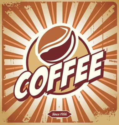 Fototapete Weinlese-Kaffee-Zeichen