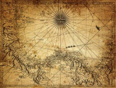 Fototapete Weinlese-Karte des Panamas