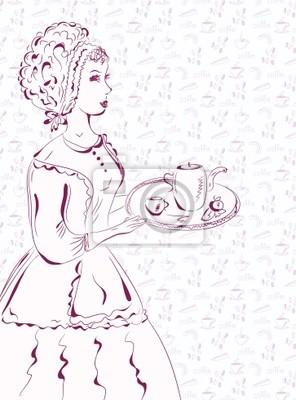 Weinlese Kellnerin Skizze mit Kaffee Muster