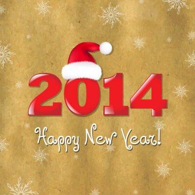 Weinlese-neue Jahre Karte und Weihnachtsmann-Hut