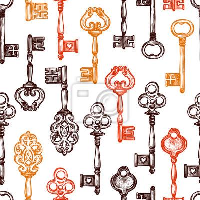 Weinlese-Schlüssel-nahtloses Muster
