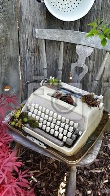 Weinlese Schreibmaschine Buch Computer Deko Dekoration Garten