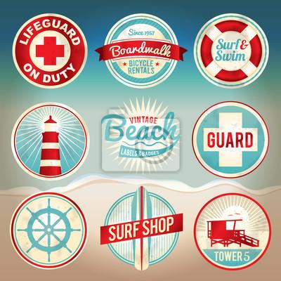 Weinlese-Strand-Labels und Abzeichen