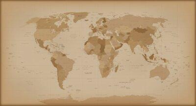 Fototapete Weinlese-Weltkarte